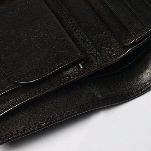 Geldbeutel Leder Herren - M.R Hochformat Geldbörse Portmonee Portemonnaie Braun