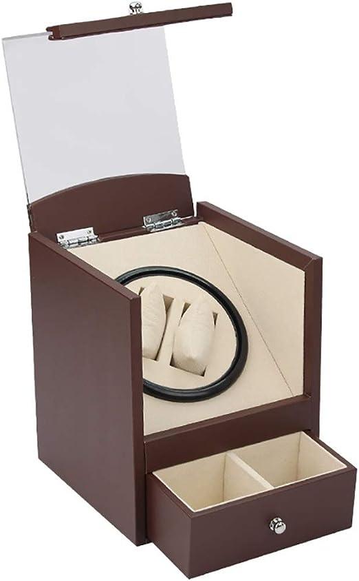 L-life Cajas giratorias Caja de enrollador de Reloj automático de Madera 2 Relojes de Pulsera + 2 Estuche de Almacenamiento, Motor japonés Mudo, Estuche de Almacenamiento de rotación (marrón, ne: Amazon.es: Hogar