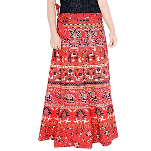 Sttoffa 40 Pouces De Longueur Wrap Autour Jupe Bloc D'impression Rajasthani Taille Libre Jupe Rouge D6