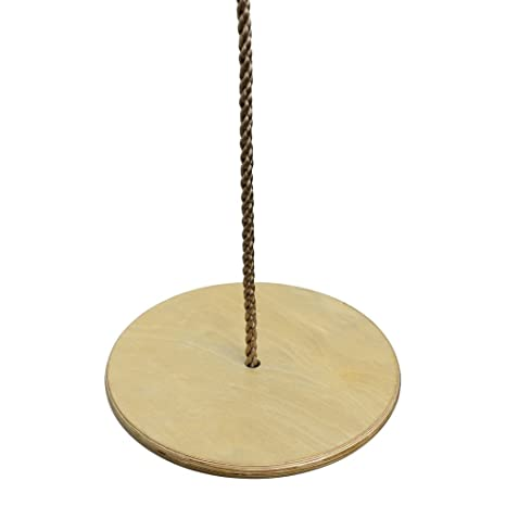 Pellor Children Kids Wooden Round Disc Plate Swing Seat with Adjustable Rope