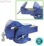 SKEMiDEX---5'' Bench Vise with Anvil Swivel Locking Base Table top Clamp Heavy Duty Steel. Can be mounted on bench top or working truck Perfect for home or business application
