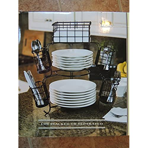 7 Piece Wrought Iron Stack \u0026 Serve Buffet Set  sc 1 st  Amazon.com : stacked plate rack - pezcame.com