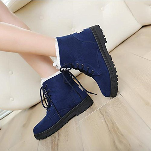 Anxinke Womens Flat Lace-up Snow Boot Winter Warm Ankle Boots with Faux Fur Blue