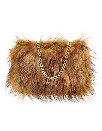 Fluffy Faux Tone Chain Natural Feather Fur Clutch Runway 2 Womens With qTEdAq
