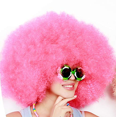 Kurop Unisex Afro Wig Black Wig Fancy Costume Funny Wig Party Costume (Pink)