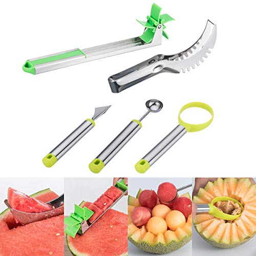 - 5 Pack Watermelon Windmill Cutter Set - Stainless Steel Watermelon Slicer,Fruit Slicer Carving Kit, Corer Cutter Knife Tongs, Fruit Scoop Dig Pulp Separator, Melon Baller Scoop and Fruit Carving Knife