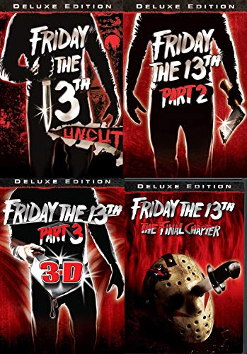 Four Fridays at Camp Crystal Lake Deluxe Edition 4-DVD Bundle - Friday the 13th Uncut, Friday the 13th Part 2, Friday the 13th Part 3 3-D, and Friday the 13th The Final Chapter -