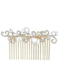 Ever Faith Leaf Wave Tear Drop Hair Comb Clear Austrian Crystal