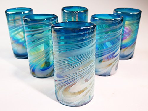 Mexican Glass Hand Blown, Turquoise & White Iridescent Swirl, 18 oz Set of 6