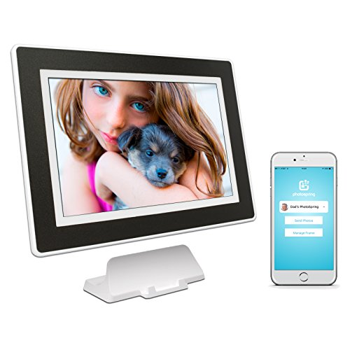 PhotoSpring (32GB) 10-inch WiFi Cloud Digital Picture Frame – Battery, Touch-Screen, Plays Video and Photo Slideshows, HD IPS Display, iPhone & Android app (White/Black Mat – 32,000 Photos)