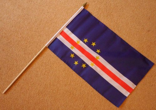 Cape Verde Islands Large Hand Flag - Sleeved Polyester Flag on 2 Foot Wooden (Cape Verde Islands Flag)