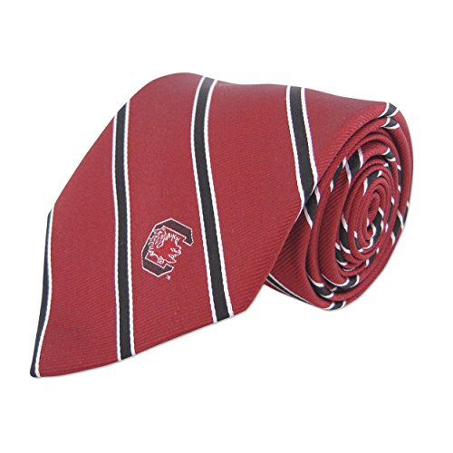 (NCAA South Carolina Fighting Gamecocks Mens Woven Silk Thin Stripe Collegiate Logo Tie 2, Garnet and Black, One Size)