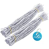 Caryko Tinsel Creative Arts Chenille Stems 6 mm x 12 Inch, Pack of 200 (Silver)