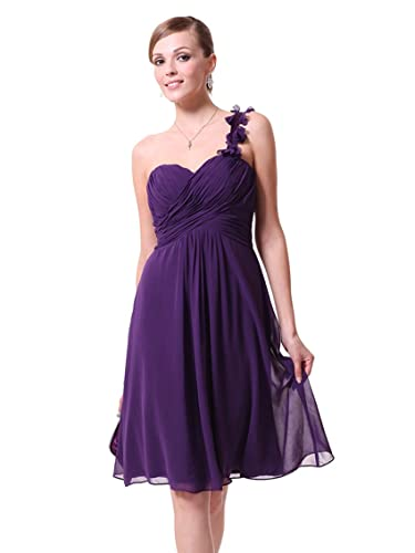 Ever Pretty One Shoulder Flowers Padded Ruffles Short Bridesmaid Dress 03535
