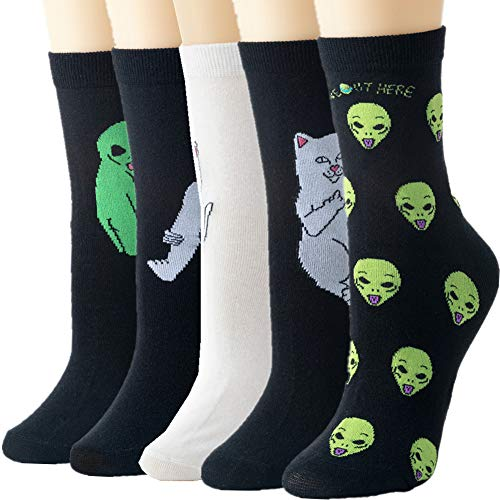 Womens Socks Cactus Crew Socks Gifts Cotton Long Funny Socks for Women Novelty Funky Cute Crazy Aliens Cartoon Socks WCS1- Funny Aliens (For Crazy Socks Women Tall)
