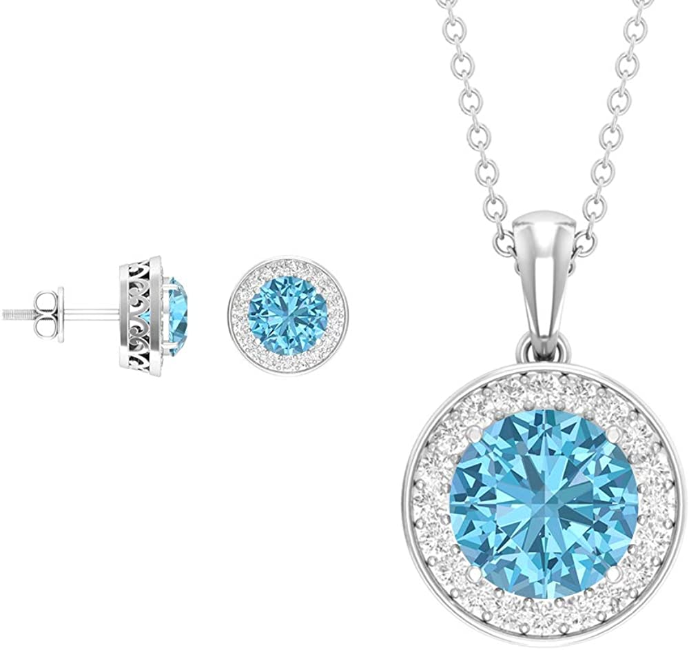 Juego de joyas de 5,13 quilates, color azul y blanco, collar y pendientes de aguamarina de corte redondo, pendientes de halo de diamantes, colgantes grabados en oro (calidad AAA)