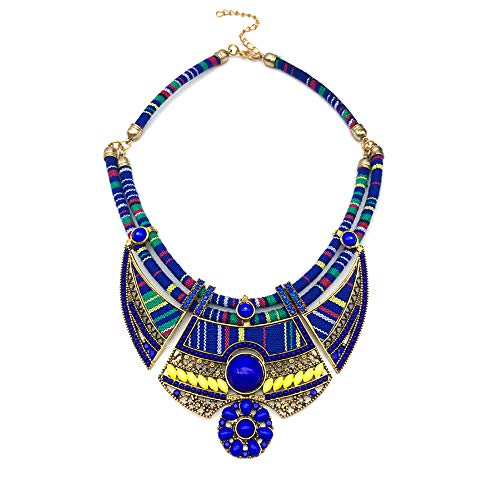 Chunky Bib Statement Torque Choker Bohemia Indian African Egypt Magnetic Clasps Multi Layers Tribal Necklaces. Fashion Jewelry Sets Collar Box for Women and Girls. (BQQ-MZ-20)