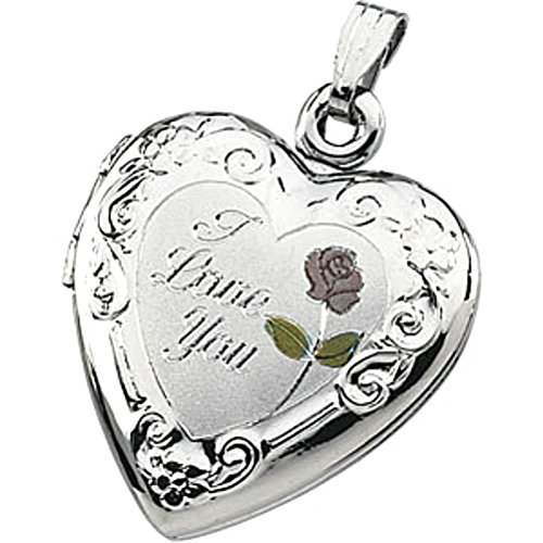 Sterling Silver 'I Love You' Heart Floral Locket by The Men's Jewelry Store (for HER)