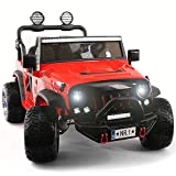 Electric Ride On Car - 2019 Two Seater Truck w/ Remote Control for Kids   Large 12V Power Battery Licensed Kid Car to Drive with 3 Speeds, Leather Seat, Foam Rubber Tires - Fire Red
