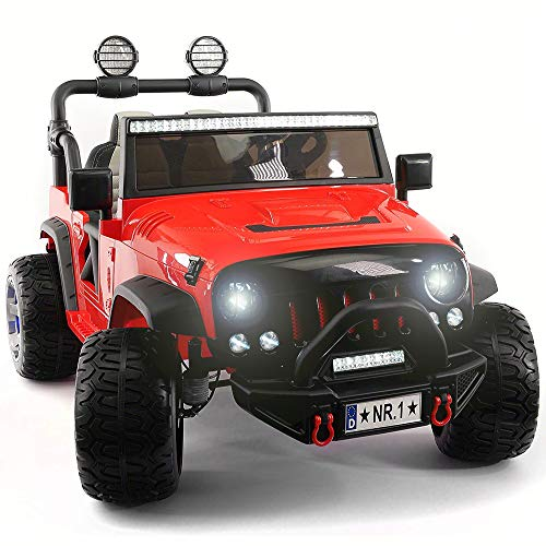 Electric Ride On Car - 2019 Two Seater Truck w/ Remote Control for Kids | Large 12V Power Battery Licensed Kid Car to Drive with 3 Speeds, Leather Seat, Foam Rubber Tires - Fire Red]()