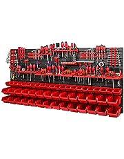 Werkplaatsrek, wandrek, 1728 x 780 mm, opslagsysteem met gereedschapshouders en stapelboxen, wandplaten, extra sterk werkplaatsrek, rood)