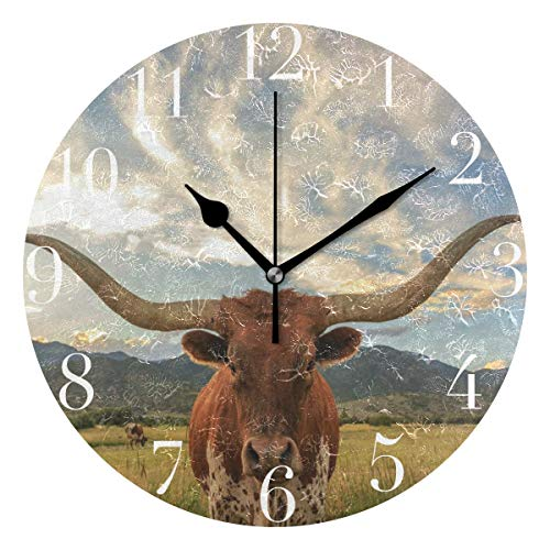 FunnyCustom Round Wall Clock Texas Longhorn Steer Acrylic Creative Decorative for Living Room/Kitchen/Bedroom/Family ()