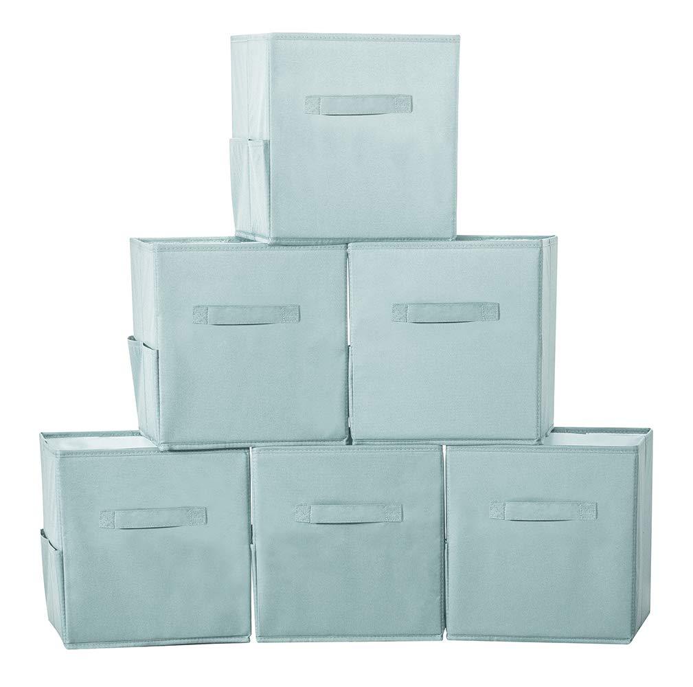 STORAGE MANIAC 6-Pack Foldable Storage Cubes Basket Bins with Side Pockets, Full Coroplast Storage Organizer Drawers with Extra Thick Fabric, Aqua Blue