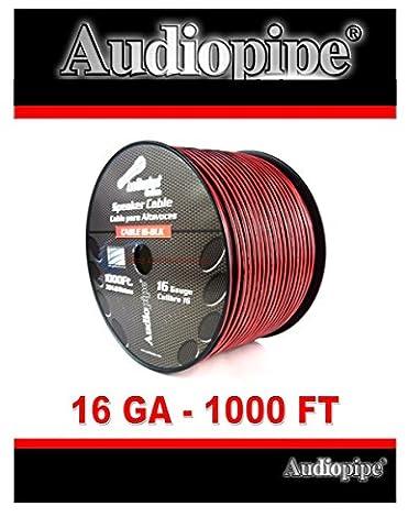 Audiopipe 1000' Feet 16 GA Gauge Red Black 2 Conductor Speaker Wire Audio Cable - 2 Conductor Audio