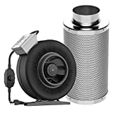 VIVOSUN 6 Inch 440 CFM Inline Duct Fan with 6' x 18' Carbon Filter Odor Control with Australia Virgin Charcoal