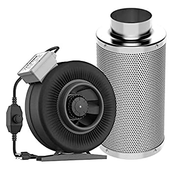 Image of Home and Kitchen VIVOSUN 6 Inch 440 CFM Inline Duct Fan with 6' x 18' Carbon Filter Odor Control with Australia Virgin Charcoal