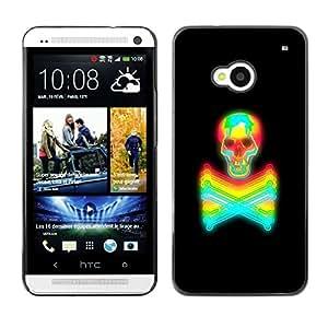 GOODTHINGS ( NO PARA HTC ONE MINI M4) Funda Imagen Diseño Carcasa Tapa Trasera Negro Cover Skin Case para HTC One M7 - negro vibrante colorido de neón del tatuaje del cráneo