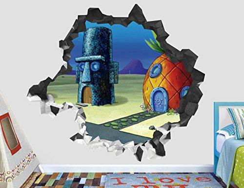 Sponge Bob Square Pant House Wall Decal Smashed 3D Sticker Vinyl Decor Mural Kids - Broken Wall - 3D Designs - AH134 (Giant (Wide 50