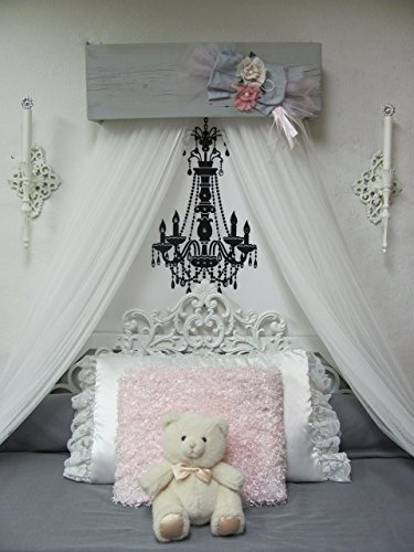 Nursery Decor Shabby Chic Princess Bed Girls Bedroom Crib Canopy Baby Gray Pink Ivory FREE White curtains Vintage inspired Chalk paint SALE (Cape White Furniture Bedroom Cod)