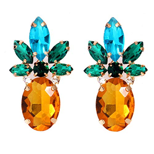 Sparkling Yellow Emerald Crystal Vintage Trendy Fruit Pineapple Earrings Stud Necklace Jewelry Sets For Women Girls (pineapple earring) -