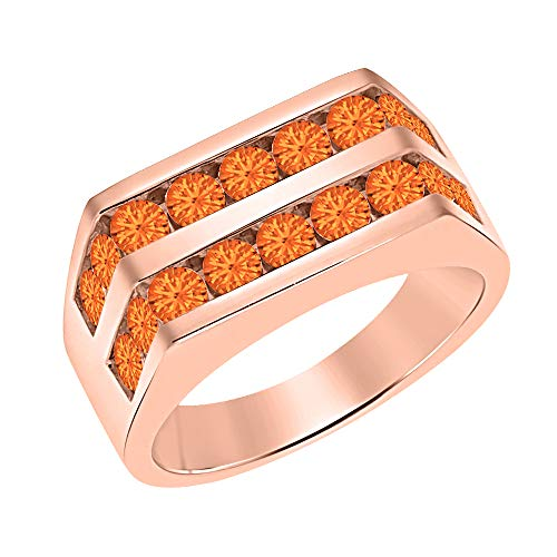 Orange Sapphire Wedding Set - tusakha Men's 14k Rose Gold Plated Channel Set Round Orange Sapphire Wedding Band Anniversary Ring 925 Sterling Silver
