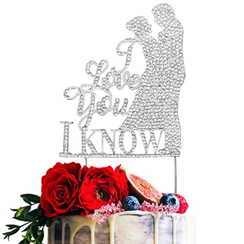 I Love You I Know Silver Rhinestone Crystal Cake Topper Couple Bride and Groom Silhouette Wedding Tying the Knot Party Decorations