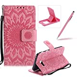 Wallet Case for Samsung Galaxy A5 2017 A520,Strap Flip Case for Samsung Galaxy A5 2017 A520,Herzzer Retro Elegant [Pink Mandala Flower Pattern] Stand Function Magnetic Smart Leather Case with Soft Inner for Samsung Galaxy A5 2017 A520 + 1 x Free Pink Cellphone Kickstand + 1 x Free Pink Stylus Pen