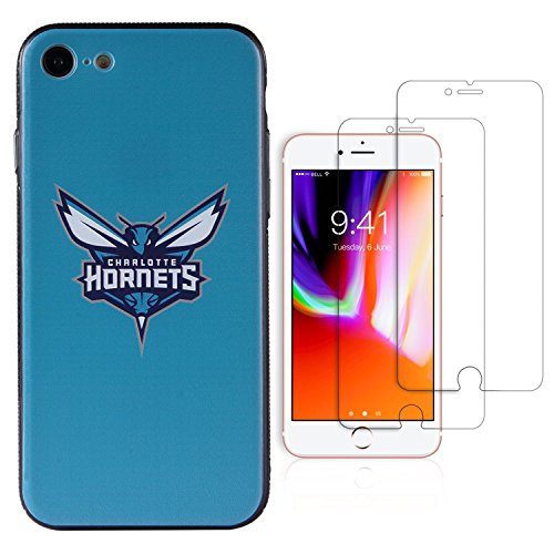 Sportula NBA Phone Case give 2 Tempered Glass Screen Protectors - Extra Value Kit for iPhone 8 / iPhone 7 (Charlotte Hornets)