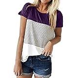 FEITONG Women Short Sleeve Round Neck Triple Color Block Stripe T-Shirt Casual Blouse(Large,Purple)