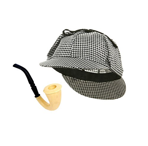 Funny Party Hats Detective Hat and Pipe - Sherlock Holmes Kit