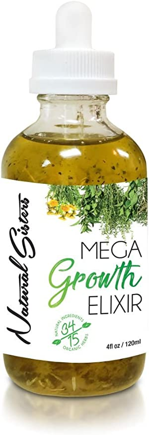 Natural Hair Growth Oil Elixir : Handmade Natural Hair Growth Serum With Organic Herb & Essential Oils - Nourishing Scalp Treatment Simulator For Thinning Hair - Made In NYC, USA, 4 oz