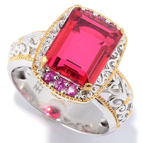 Michael Valitutti Palladium Silver Ruby Red Color Quartz Doublet & Ruby