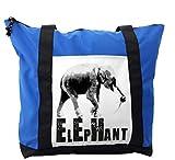 Lunarable Grunge Shoulder Bag, Africa Elephant Illustration, Durable with Zipper