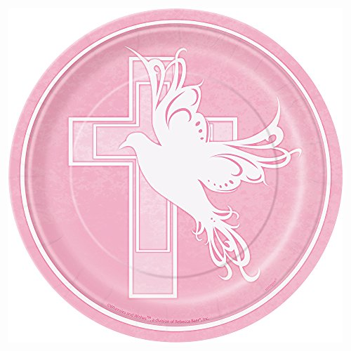 Price comparison product image Pink Dove Cross Religious Dessert Plates, 8ct