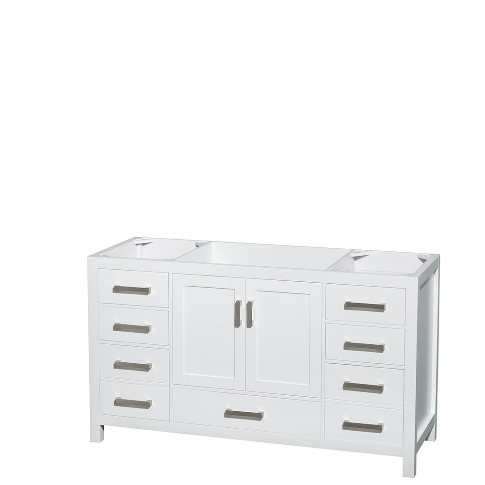 single white vanity with sink. Wyndham Collection Sheffield 60 inch Single Bathroom Vanity in White  Carrera Marble Countertop Undermount Square Sink and 58 Mirror