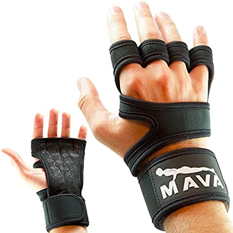Cross Training Gloves with Integrated Velcro Wrist Wraps – Palm Protector Gloves, Callus Guard for (Wear Mano Avvolge)