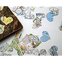 Vintage Map Hearts for Travel Wedding Party Table Scatter Confetti Decoration (200 pieces)