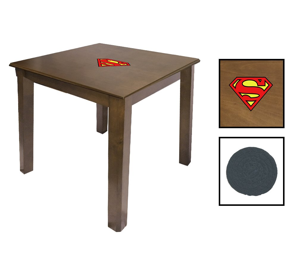 Walnut Finish End Table Featuring the Choice of Your Favorite Superhero Theme Logo - FREE Coaster Included! (Superman Logo)