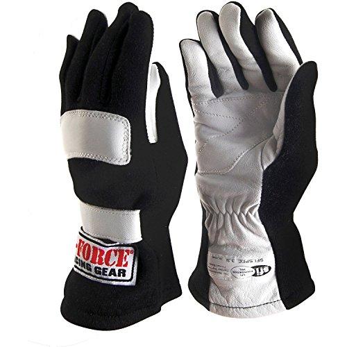 G-Force 4101CMDBK G5 Black Child Medium Junior Racing Gloves
