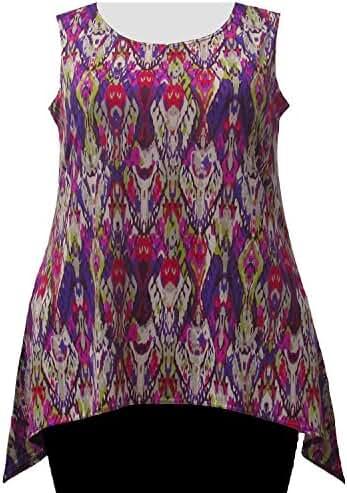 A Personal Touch Women's Plus Size Purple Ikat Hankie Hem Tank Top